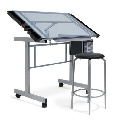 Studio Designs 2-Piece Vision Rolling Glass Drafting Table with Metal Support Bars