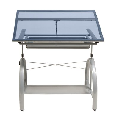Avanta Drafting Table in Silver and Blue Glass