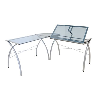 Futura LS Work Table in Silver and Blue Glass