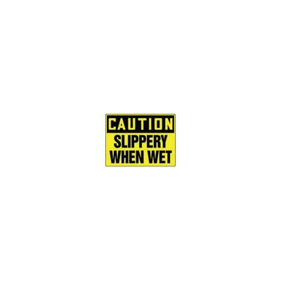 "Accuform Manufacturing Inc X 10"" Black And Yellow Adhesive Vinyl Value™ Fall Protection Sign Caution Slippery When Wet"