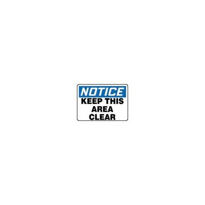 "Accuform Manufacturing Inc X 10"" Blue, Black And White Adhesive Vinyl Value™ Keep Clear Sign Notice Keep This Area Clear"