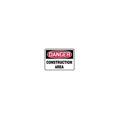 "Accuform Manufacturing Inc X 10"" Red, Black And White Adhesive Vinyl Value™ Construction Sign Danger Construction Area"