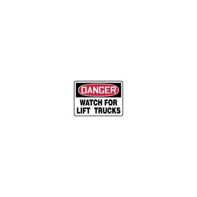 "Accuform Manufacturing Inc X 10"" Red, Black And White Adhesive Vinyl Value™ Forklift Sign Danger Watch For Lift Trucks"