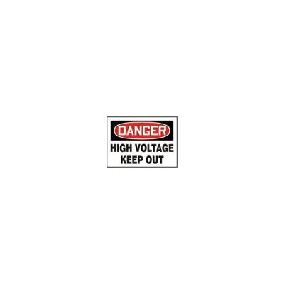 "Accuform Manufacturing Inc X 10"" Red, Black And White Adhesive Vinyl Value™ High Voltage And Hazard Sign Danger High Voltage Keep Out"