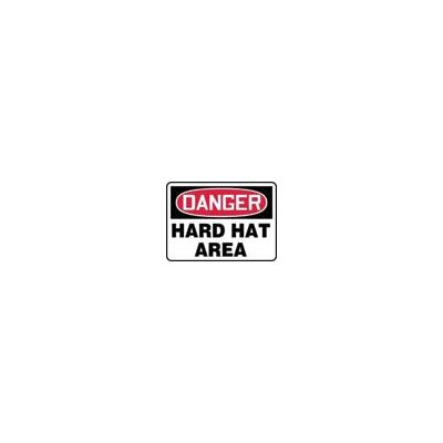 "Accuform Manufacturing Inc X 10"" Red, Black And White Adhesive Vinyl Value™ Personal Protection Sign Danger Hard Hat Area"