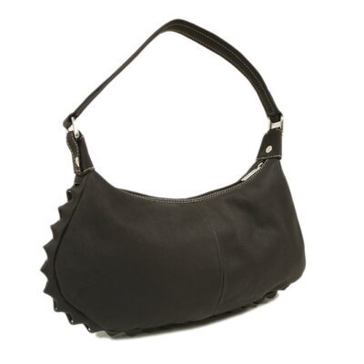 Piel Leather Ladies Studded Hobo Bag in Chocolate