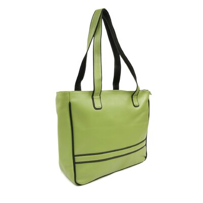 Piel Leather Women's Laptop Shopping Tote in Apple with Black Trim