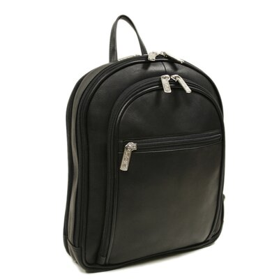 Piel Leather Entrepreneur Small Multi-Compartment Backpack in Black