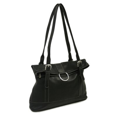 Piel Leather Fashion Avenue Fold-Over Tote in Black
