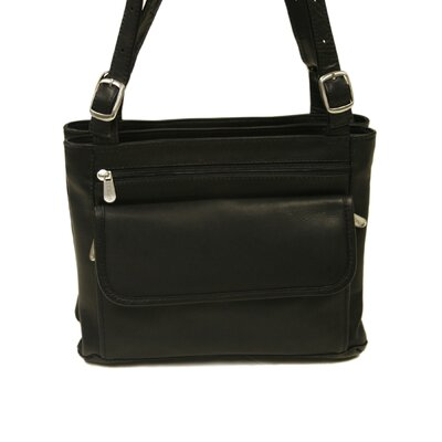 Piel Leather Fashion Avenue Double Compartment Shoulder Bag in Black