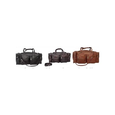 "Piel Leather Traveler 24"" Leather Travel Duffel with Pockets"