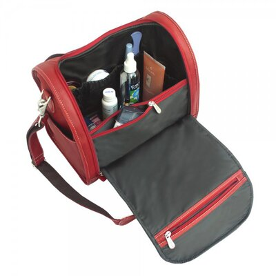 Piel Leather Blushing Red Collection Deluxe Toiletry Kit