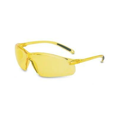 A700 Series Sporty Wraparound Safety Glasses With Clear Frame And Amber Hardcoat Lens