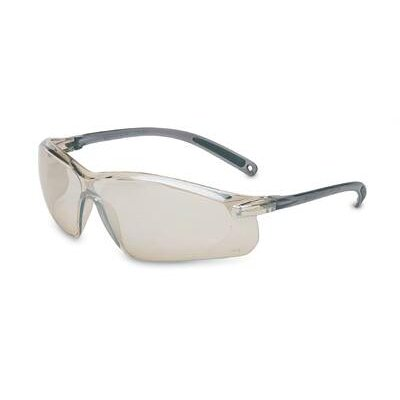 A700 Series Sporty Wraparound Safety Glasses With Gray Frame And Indoor/Outdoor Silver Mirror Lens