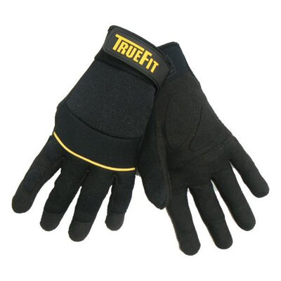 John Tillman & Co Black TrueFit™ Lightweight Synthetic Leather Gloves With Reinforced Leather Palm And Finger Tips, Neoprene Knuckle Protection Band, And Neoprene Cuff With Hook And Loop Closure