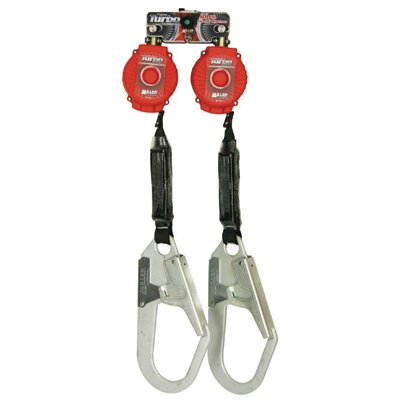 Miller Fall Protection Sperian Twin Turbo™ Fall Protection System Kit With D-Ring Connector And 2 ANSI Z359-2007 Compliant MFL-4-Z7/6FT TurboLite™ Personal Fall Limiters With Locking Rebar Hooks
