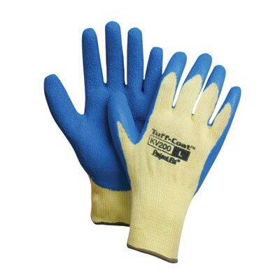 Perfect Fit Blue And Yellow Tuff-Coat II™ Medium Weight Dupont™ Para-aramid synthetic fiber® Rubber Coated General Purpose Gloves With Textured Finish