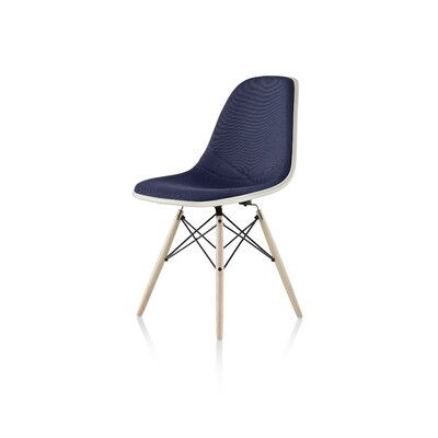 Eames Molded Plastic Upholstered Side Chair with Dowel Base