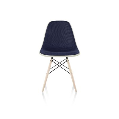 Eames Molded Fiberglass Upholstered Side Chair with Dowel Base