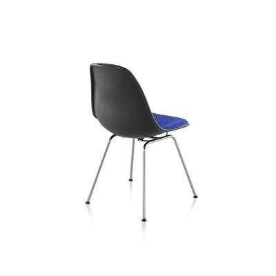Eames Molded Fiberglass Upholstered Side Chair with 4-Leg Base