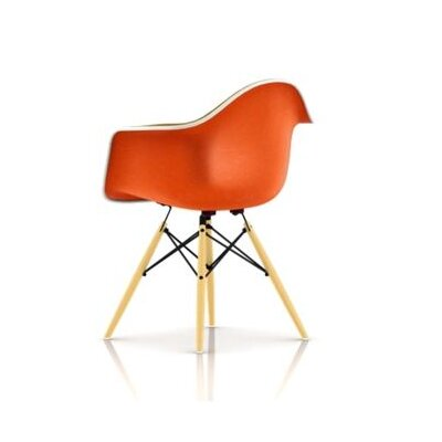 Eames Molded Plastic Upholstered Arm Chair with Dowel Base