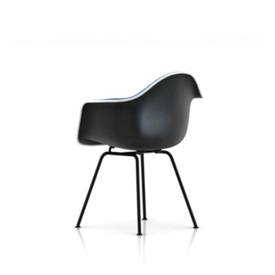 Eames Molded Plastic Upholstered Arm Chair with 4-Leg Base
