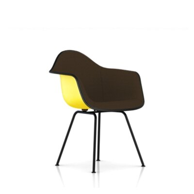 Eames Molded Fiberglass Upholstered Arm Chair with 4-Leg Base
