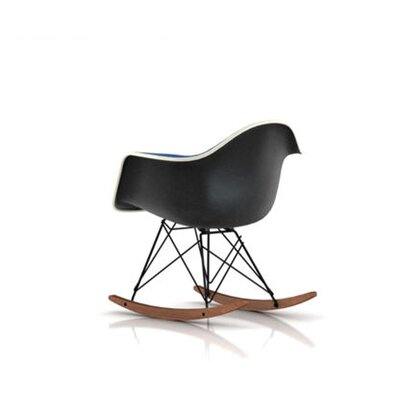 Eames Molded Plastic Upholstered Arm Chair with Rocker Base