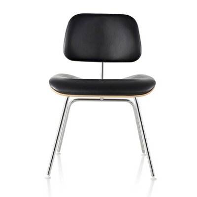 Eames Molded Plywood Upholstered Dining Chair with Metal Base