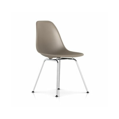 Eames Molded Plastic Side Chair 4 Leg Base Chrome in Sparrow