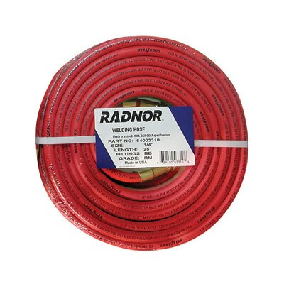 "Radnor 1/4"" X 12 1/2 foot Grade R Twin Welding Hose With BB Fittings"