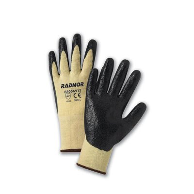 Radnor Yellow Kevlar®/Lycra® Work Gloves With Black Nitrile Coated Palms