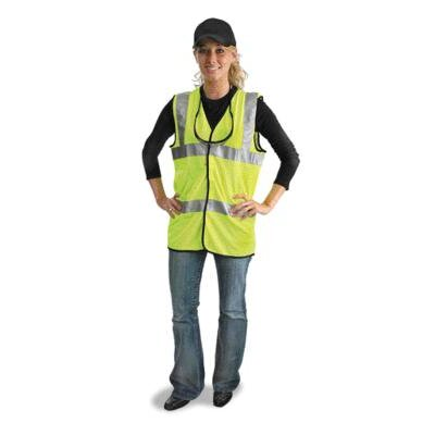 "Radnor Yellow Lightweight Polyester Mesh Classic Vest With Front Hook And Loop Closure And 2"" 3M™ Scotchlite™ Reflective Stripes"