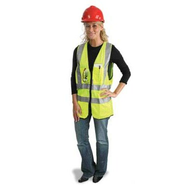 "Radnor Yellow Polyester Surveyors Vest With Zipper Closure, 2"" 3M™ Scotchlite™ Reflective Stripes, 9 Outside Pockets And 3 Inside Pockets"
