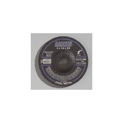 "Radnor 1/2"" X 1/4"" X 7/8"" A24R Aluminum Oxide Type 27 Depressed Center Grinding Wheel For Use With Right Angle Grinder On Steel And Metal"