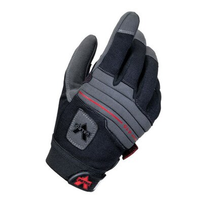 Valeo Inc Black Full Finger Mechanics Anti-Vibe Gloves With AV GEL™ Padded Palm And Thumb, Stretch-Knit Back, Padded Knuckles And Hook And Loop Cuff