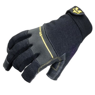 Black Work Pro Open Finger Mechaics Gloves With Leather Palm, Sweat Wipe On Thumb, Stretch ...
