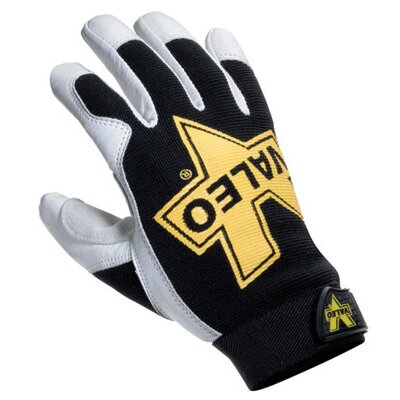 Light Gray Leather Utility Mechanics Gloves With Double Palm And Thumb Patch, Stretch-Knit Back ...