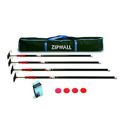 ZipWall Low Cost ZipPole™ Spring Loaded Pole 4-Pack Kit with Carry Bag