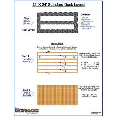 "DewDocks - USA 144"" x 288"" Standard Dock Layout"