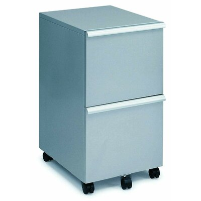 New Spec Inc MP-05 Mobile Double File Cabinet in Silver