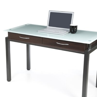 New Spec Inc Writing Desk with Glass Top