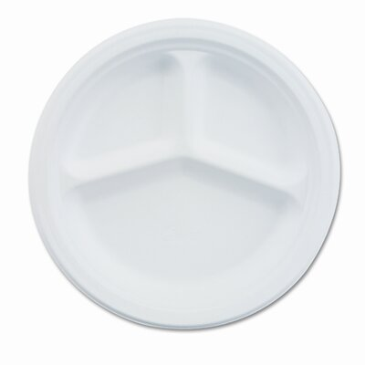 Chinet Paper Dinnerware, 3-Compartment Plate, 10-1/4&quot; Diameter, White, 500/CT                                                       