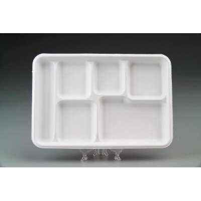 Heavy-Weight Molded Fiber Café Tray with 6 Compartment
