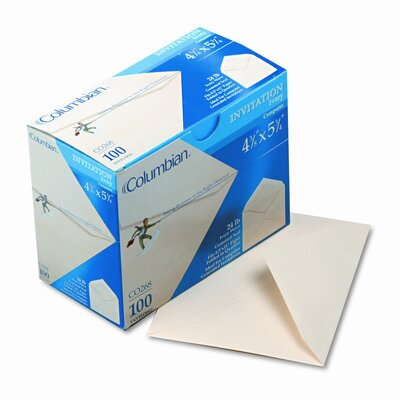 Columbian Envelope Invitation Envelope, Gummed, Contemporary, #5 1/2, Ivory, 100/box