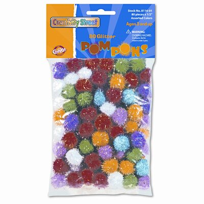 "Creativity Street® 1/2"" Multicolored Poms, 80 Per Bag"