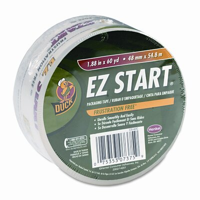 "Duck® EZ Start Carton Sealing Tape, 1-7/8"" x 22 Yards, 3"" Core, Clear"