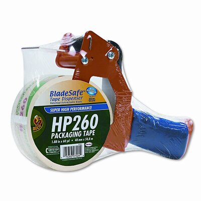 "Duck® Bladesafe Antimicrobial Tape Gun w/Tape, 3"" Core, Metal/Plastic, Orange"