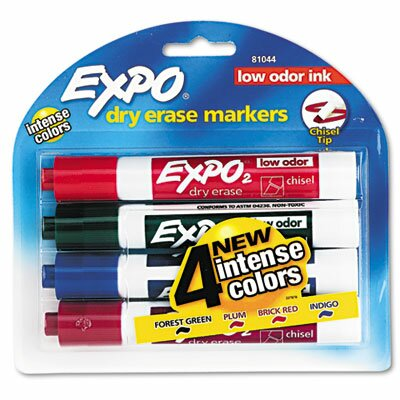 EXPO® Low Odor Dry Erase Markers, Chisel Tip, Assorted, 4/Set