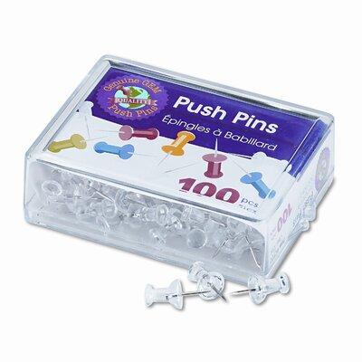 "Gem Office Products, LLC. Plastic Head Push Pins, Steel 3/8"" Point, Clear, 100 per Box"